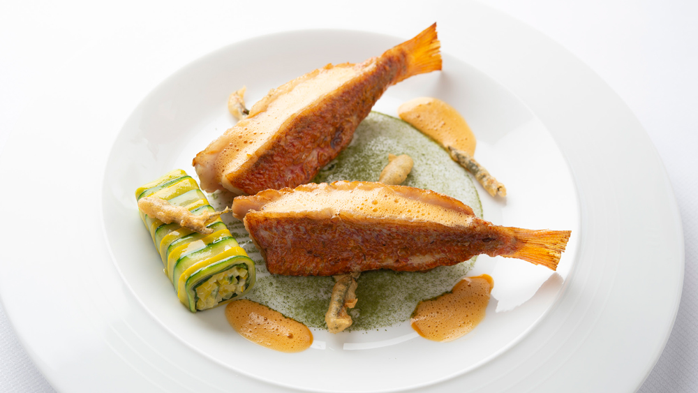 Red mullet 'swimming in the sea', with a courgette garnish