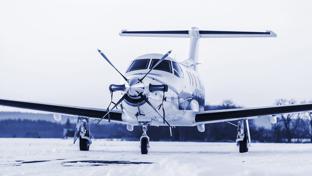 turboprop aircraft on winter runway