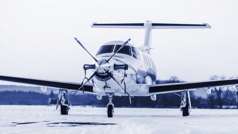 turboprop aircraft on winter runway