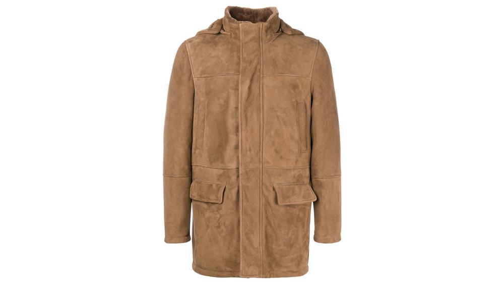 Eleventy Hooded suede coat