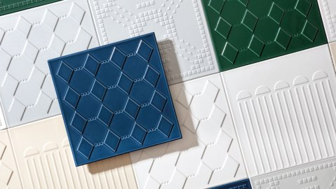 blue, green, white textured tile