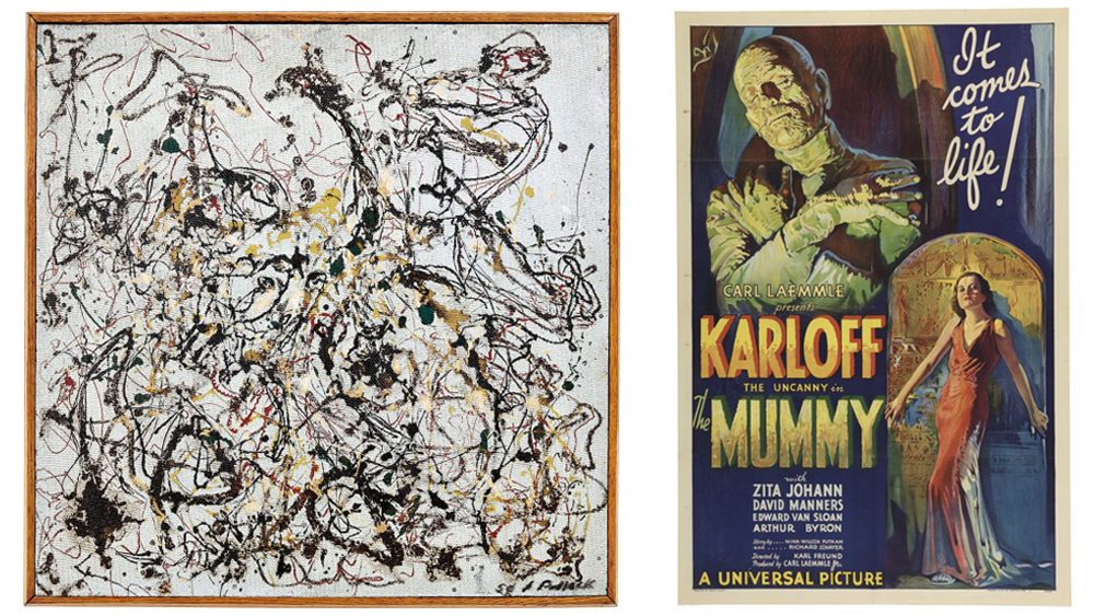 Jackson Pollock's Number 16 (1950) and The Mummy Poster (1932)