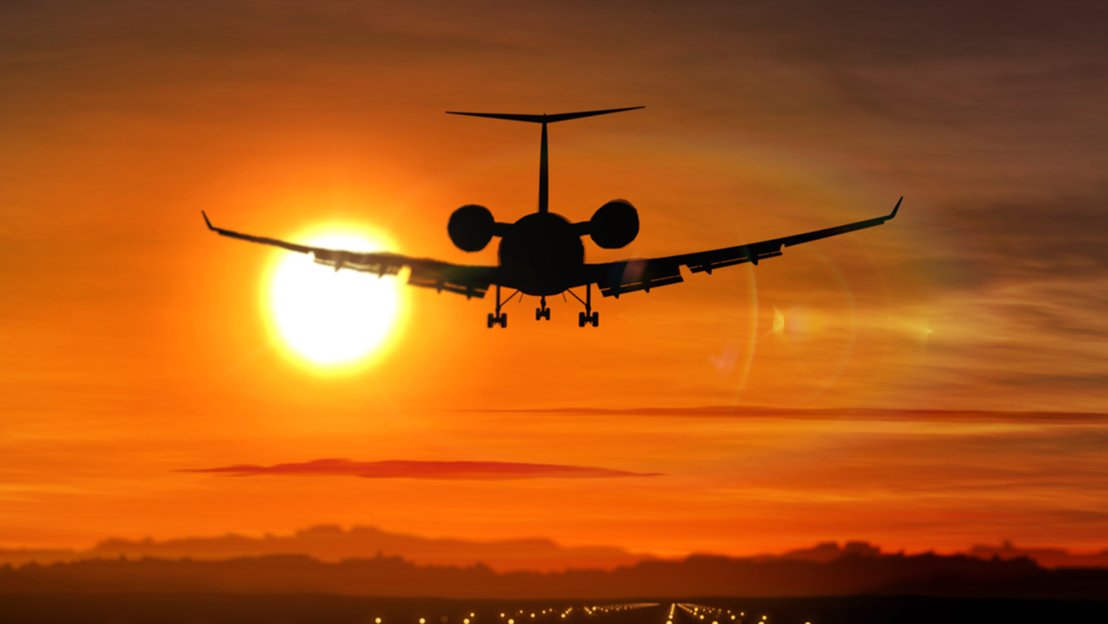 Private jet takeoff