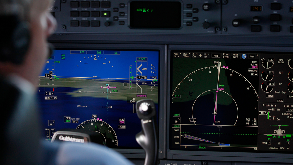 Synthetic Vision display aboard a Gulfstream jet