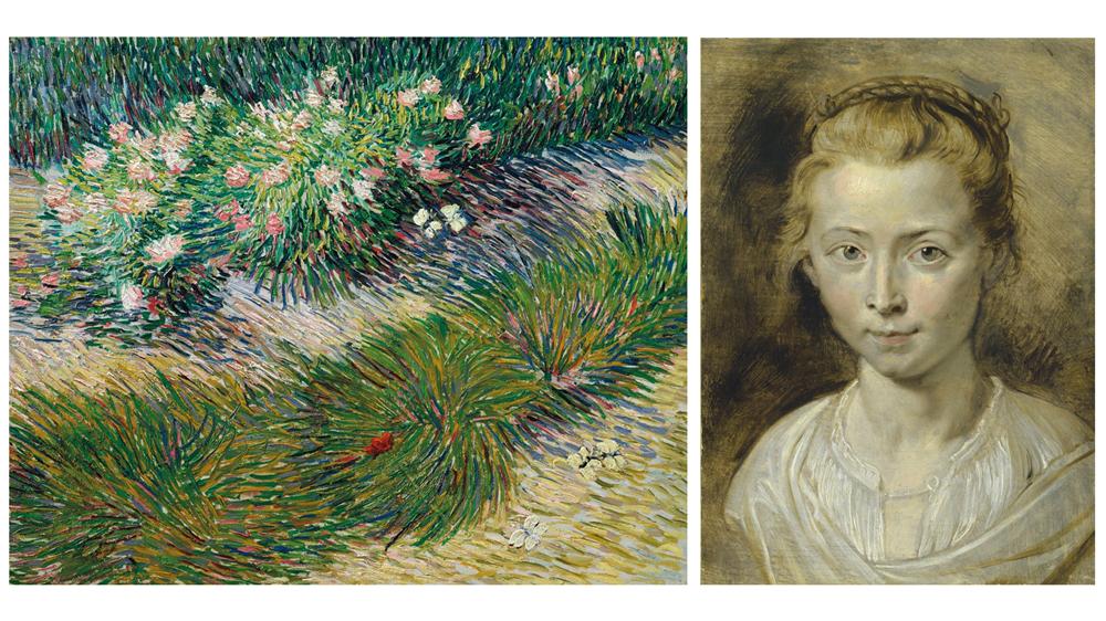Vincent Van Gogh's Coin de jardin avec papillons (1887) and Peter Paul Rubens' Portrait of Clara Serena (ca. 1623)