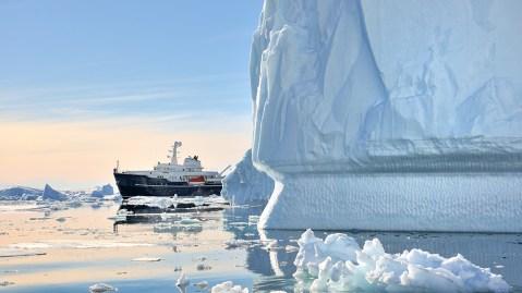 icebreaker ship in Antarctica icebergs