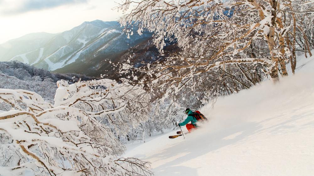 Skier on Mount Bandai