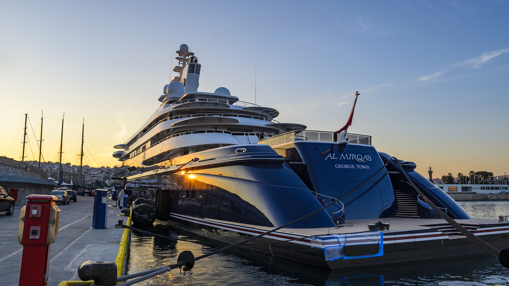 PIRAEUS - GREECE, JANUARY 27 2016: Al Mirqab Superyacht is one of the largest motor yachts ever built. Anchored at Marina Zeas in Piraeus - Greece.; Shutterstock ID 368381120; Notes: top 20 largest yachts in the world