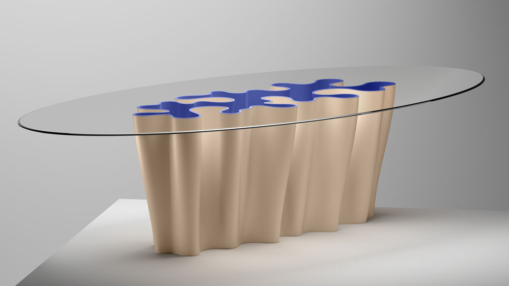 Gold modern Anemona table by Atelier Biagetti