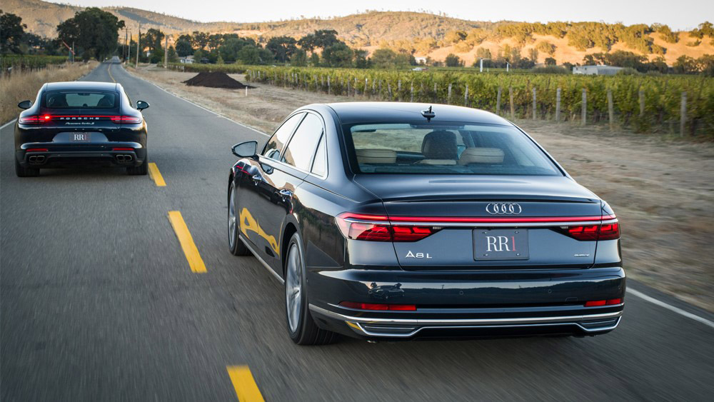The Audi A8 on roads in Napa, Calif.