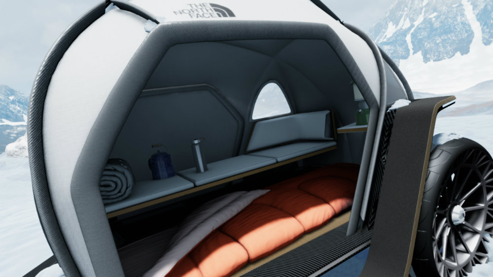 Inside BMW and The North Face's tent on wheels.