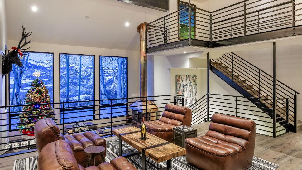 The former Aspen estate of John Denver, living room.