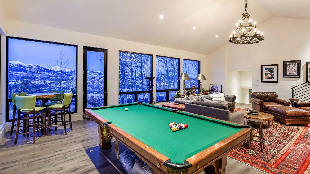 The former Aspen estate of John Denver, pool room.