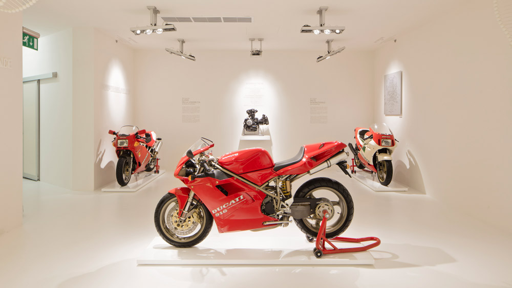The Ducati 916 motorcycle in the Ducati Museum.