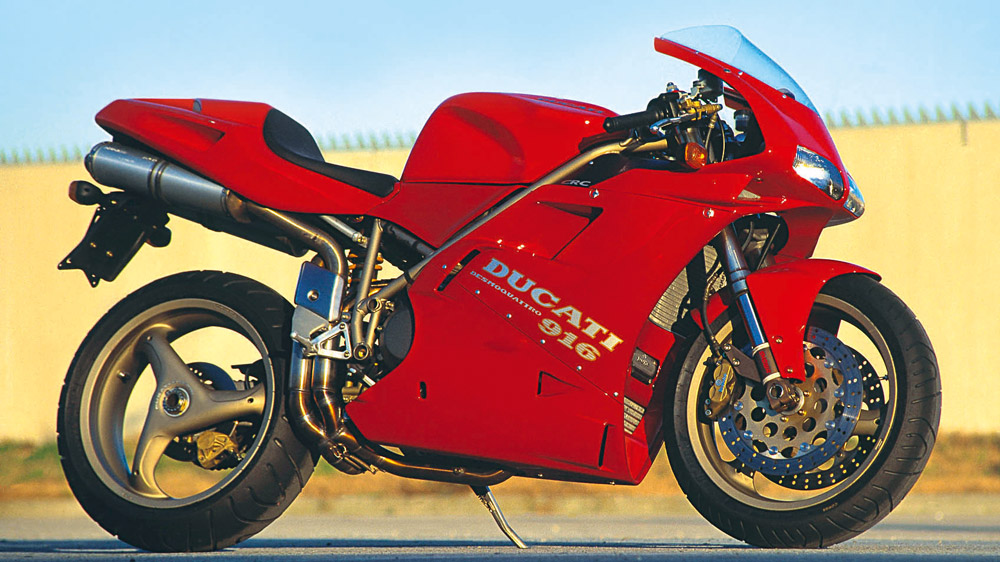 The Ducati 916 motorcycle.