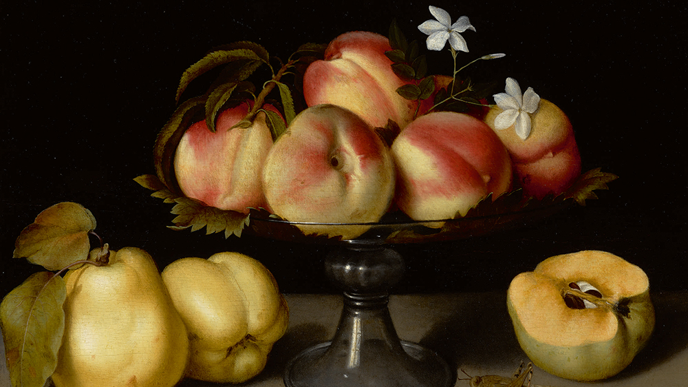 Fede Galizia A Glass Compote With Peaches, Jasmine Flowers, Quinces, And A Grasshopper oil on panel 12 by 17 in.; 30.5 by 43.2 cm Estimate $2/3 million