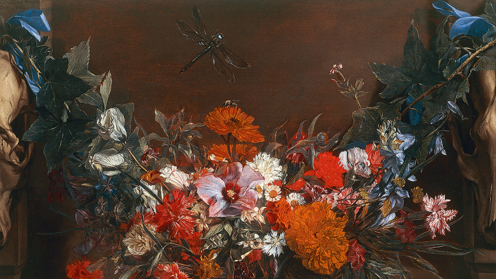 Michaelina Wautier A Garland Of Flowers, Suspended Between Two Animal Skulls, A Dragonfly Above signed and dated upper left: Michaelina Wautier / fecit. 1652 oil on panel 16 1/8 by 22 1/2 in.; 41.1 by 57.4 cm. Estimate $150/200,000