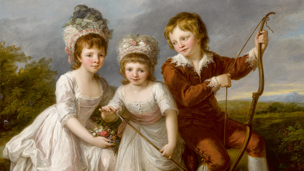 Angelika Kauffmann, R.A. Portrait Of Three Children, Almost Certainly Lady Georgiana Spencer, Later Duchess Of Devonshire, Lady Henrietta Spencer And George Viscount Althorp oil on canvas 44 3/4 by 57 in.; 113.6 by 144.8 cm. Estimate $600/800,000