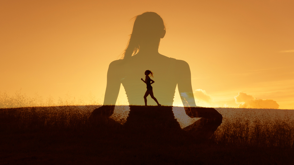 Healthy mind body and spirit. Wellness and health concept. Double exposure.; Shutterstock ID 1134937067