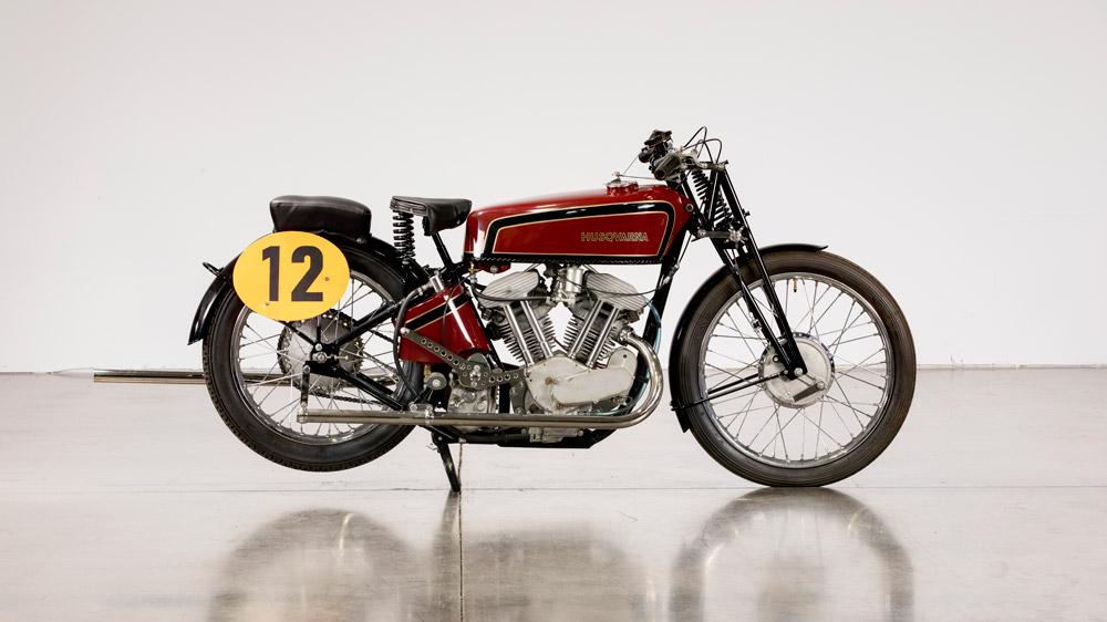 A 1934 Husqvarna 500 V-Twin Racer Replica.