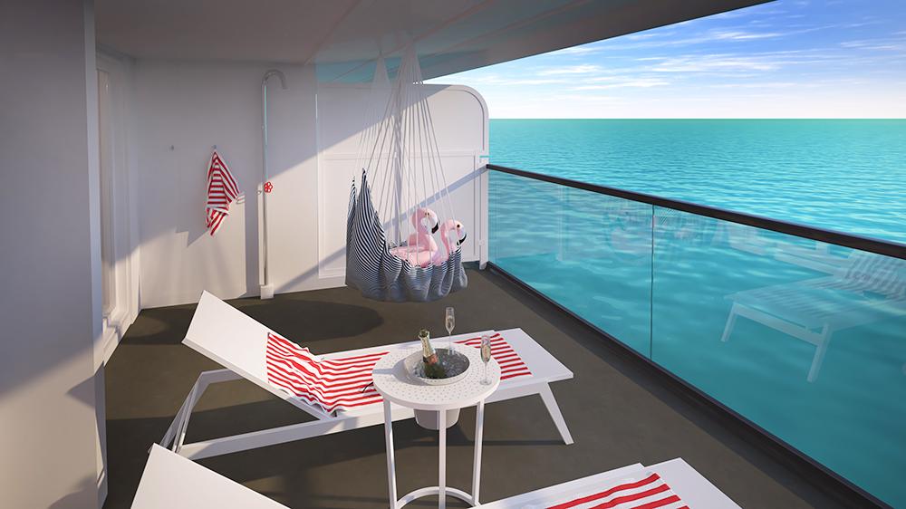 Cruise ship Virgin Voyages balcony ocean