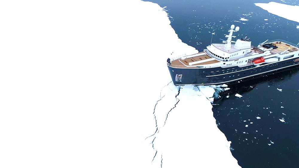 Ship icebreaker in Antarctica iceberg