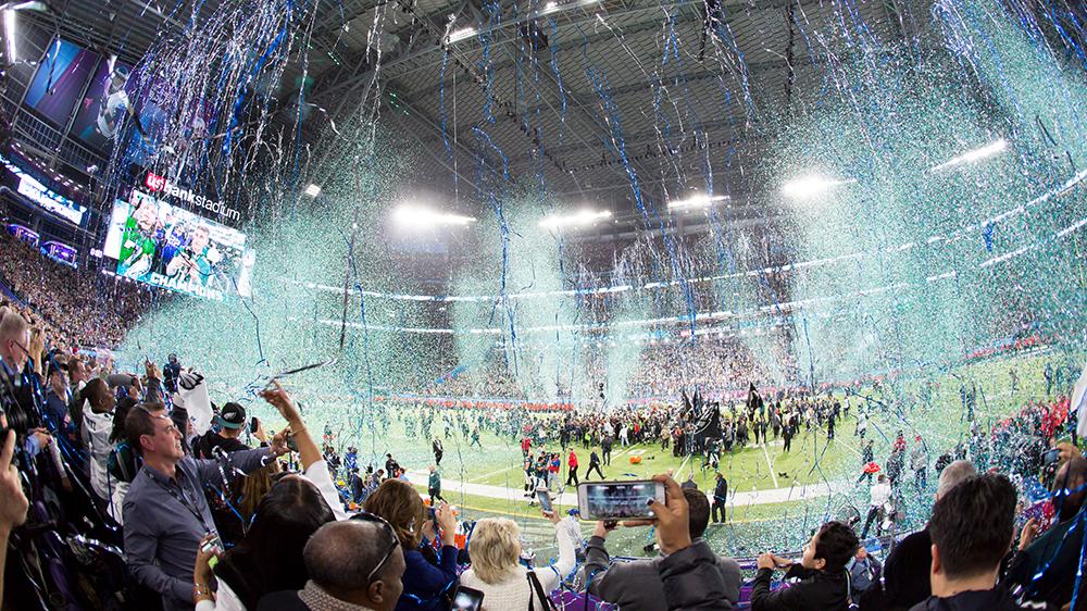 Super Bowl football championships confetti field