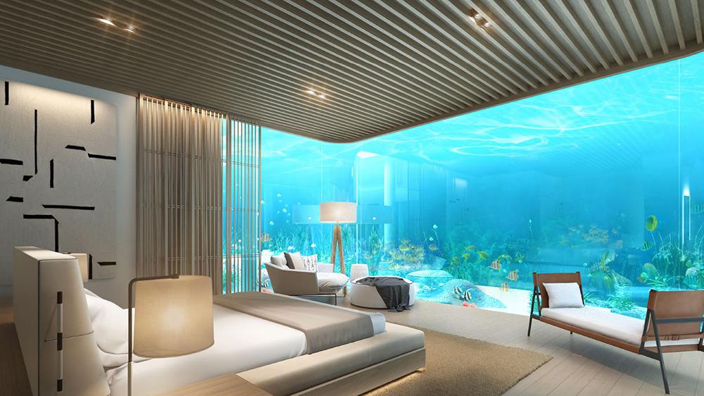 Underwater suite at Waldorf Astoria Maldives island resort