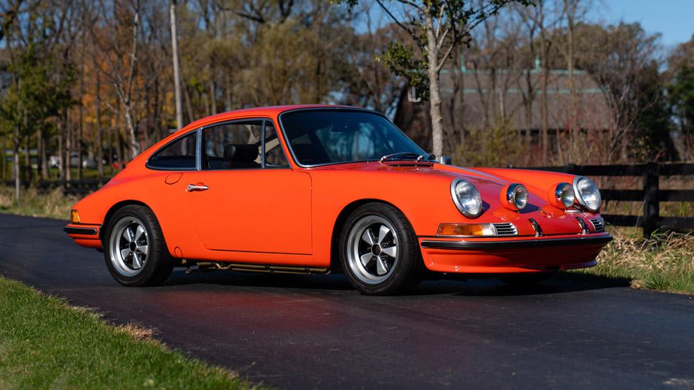 A 1972 Porsche 911 T presented at auction through Gooding & Company.