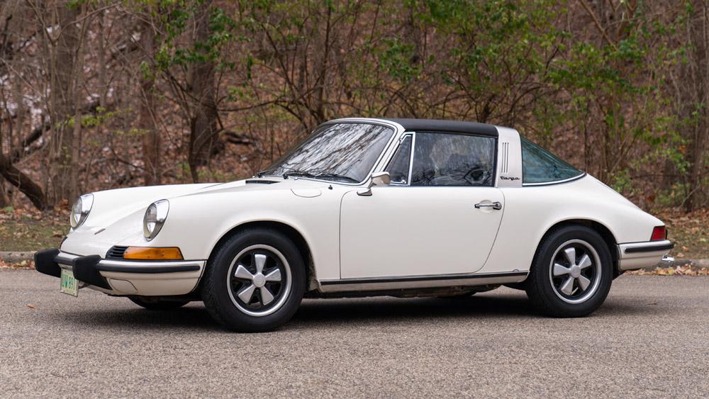 A 1973 Porsche 911 2.4 T Targa presented at auction through Gooding & Company.