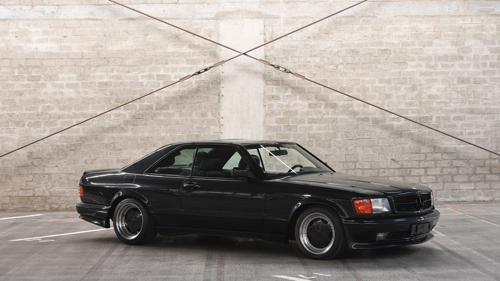 A 1989 Mercedes-Benz 500 SEC AMG 6.0 Wide Body Coupe.