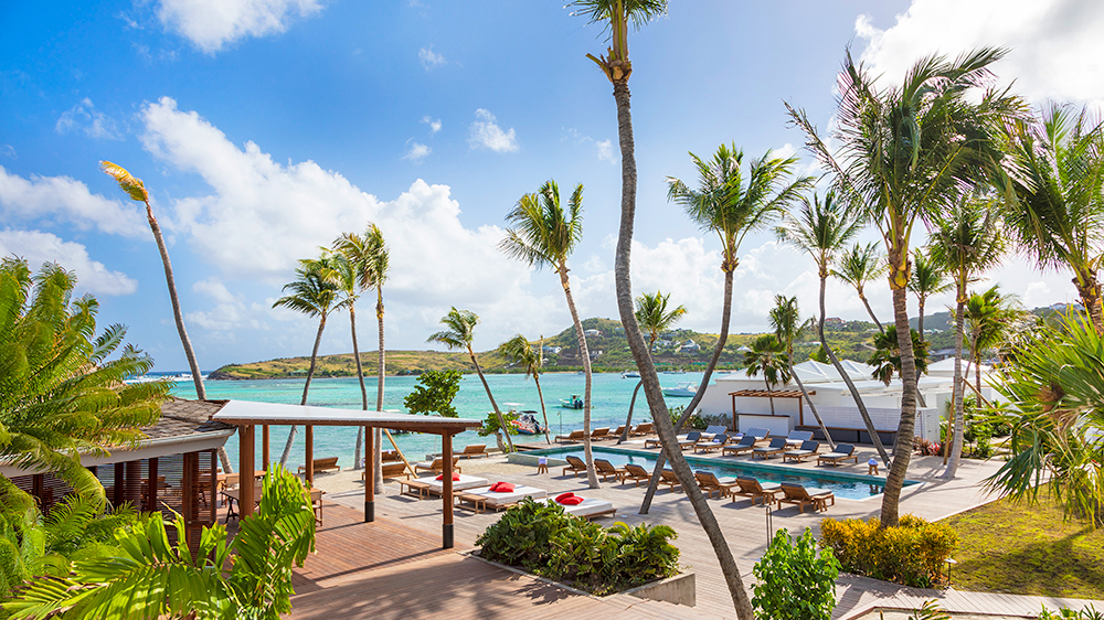 beach and pool at St Barts hotel in the Caribbean