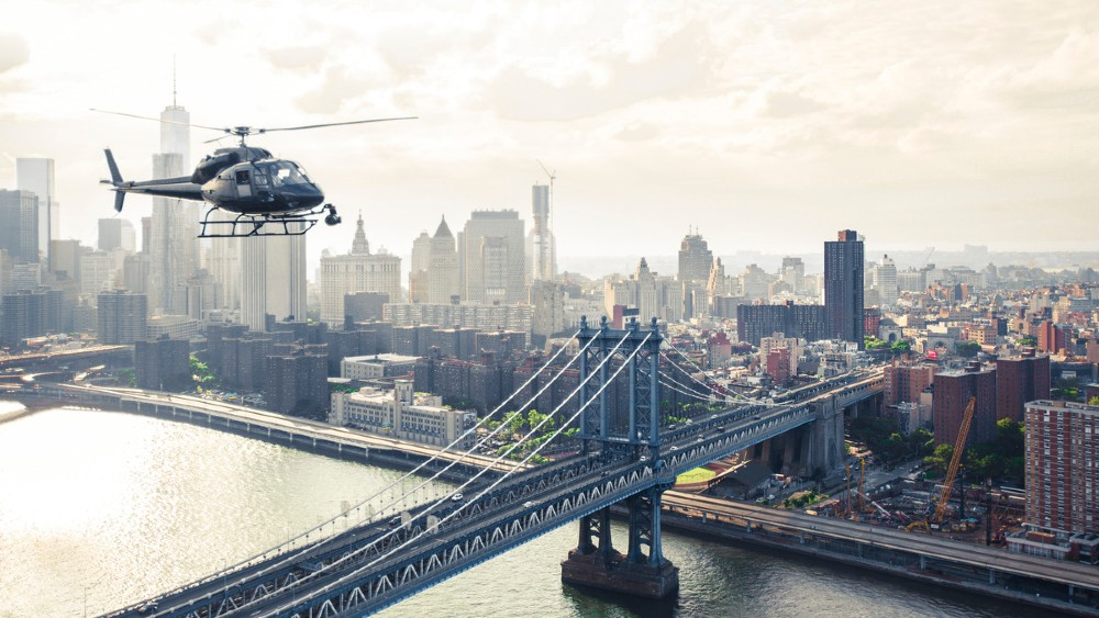 Helicopter flying over Manhattan Bridge, Manhattan, New York City, NY