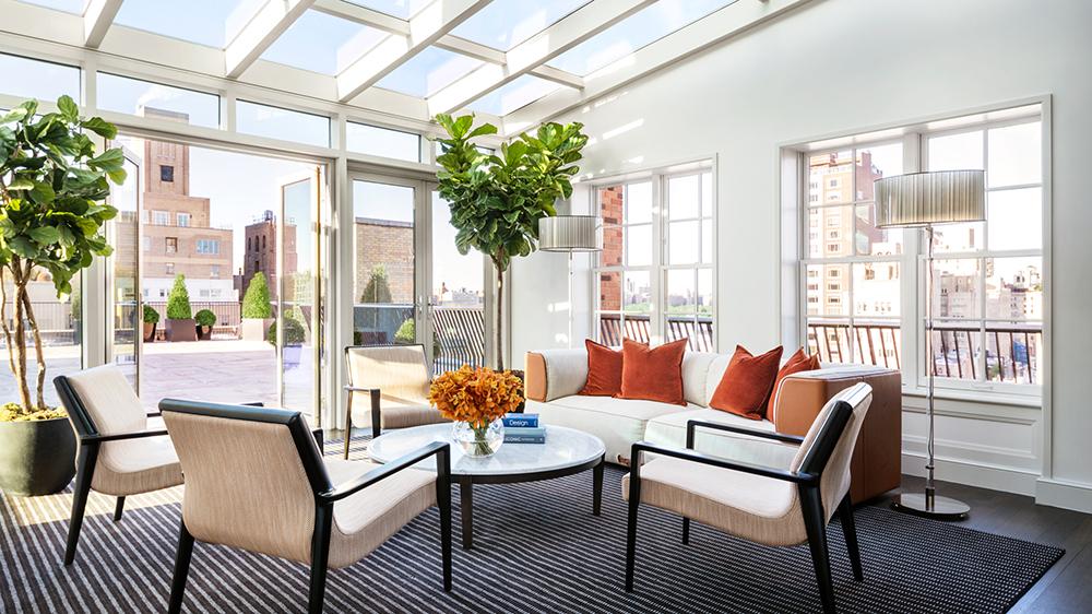 atrium living room suite New York City balcony