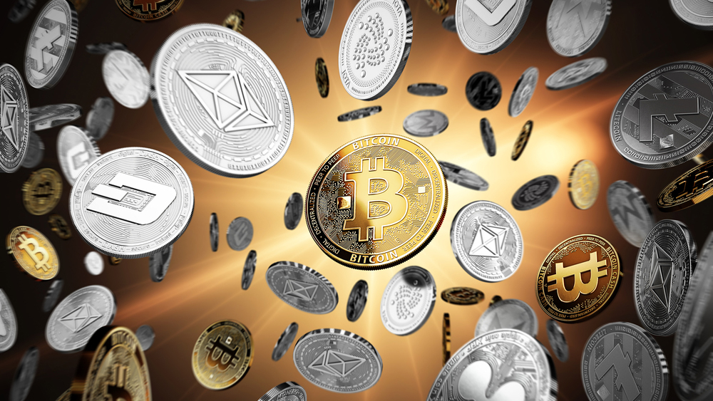 Flying altcoins with Bitcoin in the center as the leader. Bitcoin as most important cryptocurrency concept. 3D illustration; Shutterstock ID 725383297; Notes: Muse_Cryptocurrency