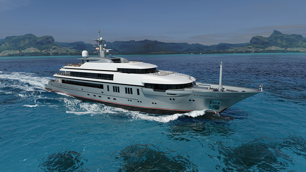 The 210-foot VSY yacht features exterior design by Espen Øino and naval architecture by Laurent Giles.