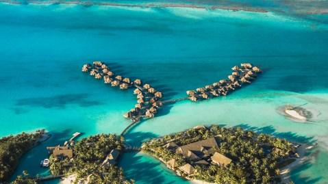 overwater bungalows resort in Bora Bora