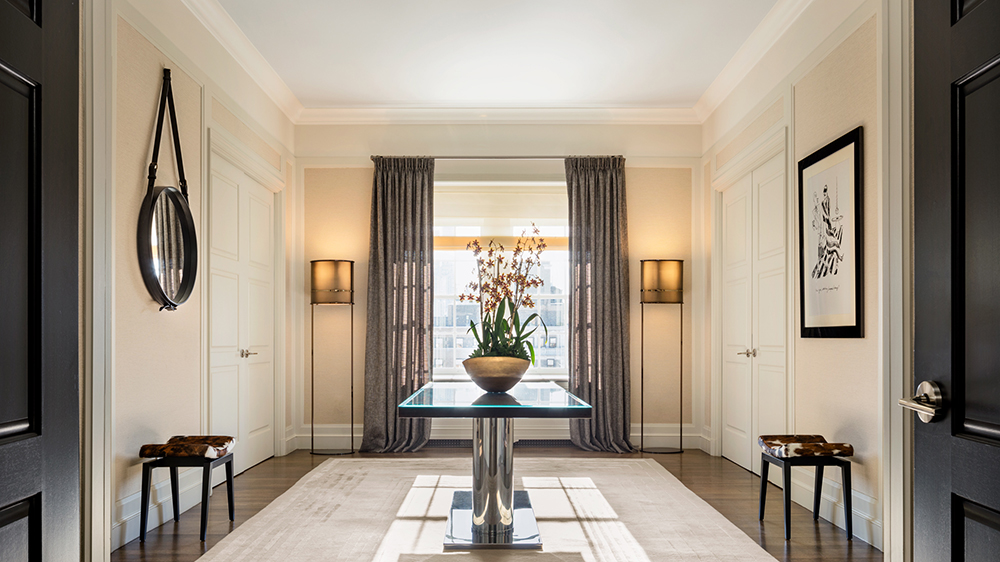 foyer entryway to grand penthouse suite in New York City