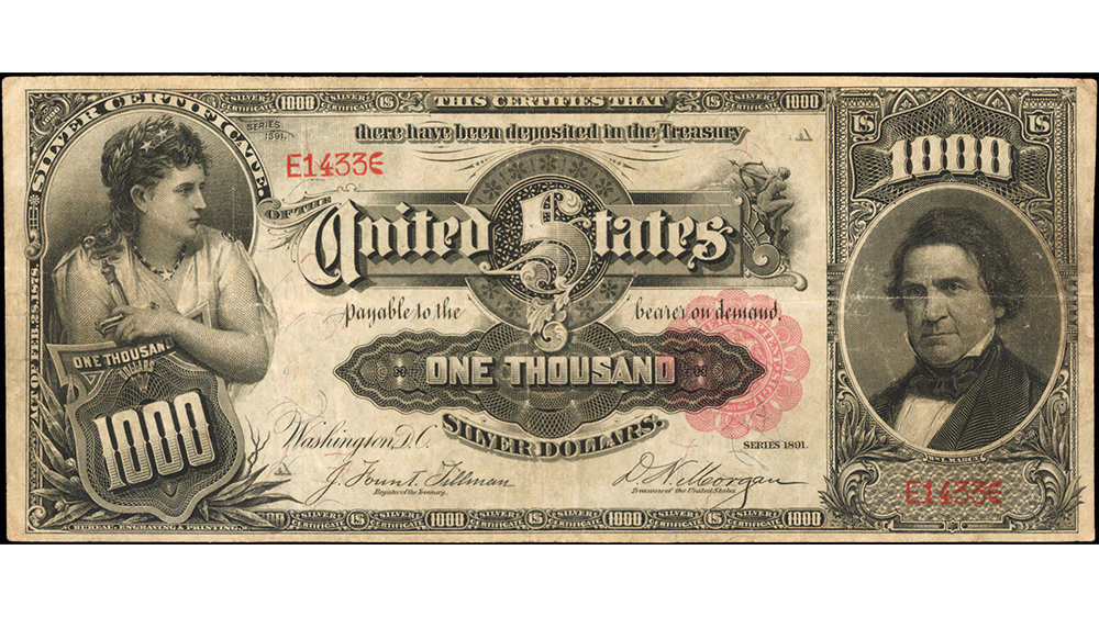 """1891 $1000 """"Marcy"""" Silver Certificate"""
