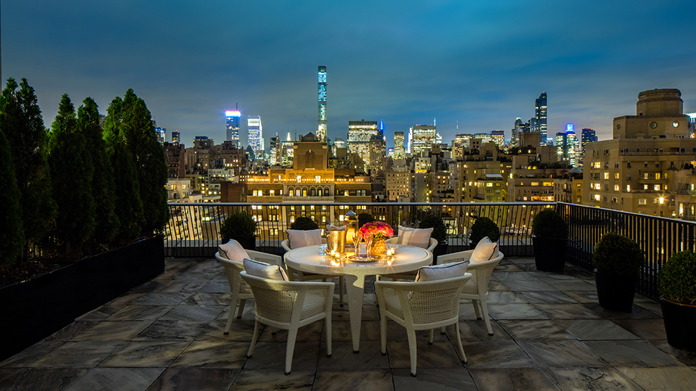 penthouse terrace overlooking New York City Manhattan skyline