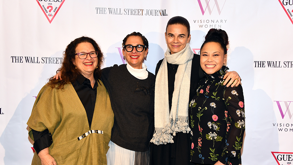 (L-R) Evan Kleiman, Nancy Silverton, Suzanne Goin, Sally Camacho Mueller at the Visionary Women Presents: Female Power Chefs: Cooking All The Way To The Top on February 06, 2019 in Beverly Hills, California.