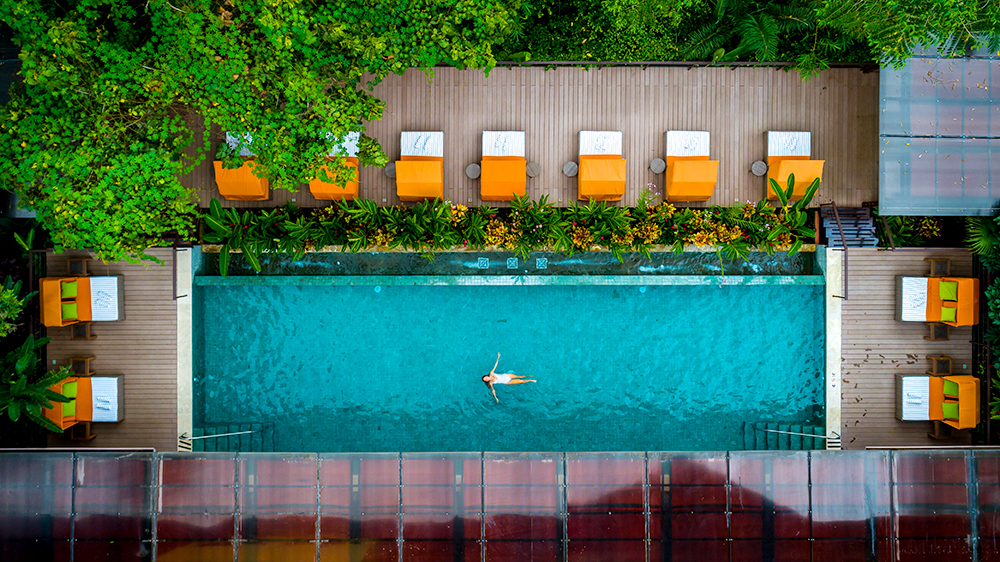 aerial photo of woman in pool in Costa Rica