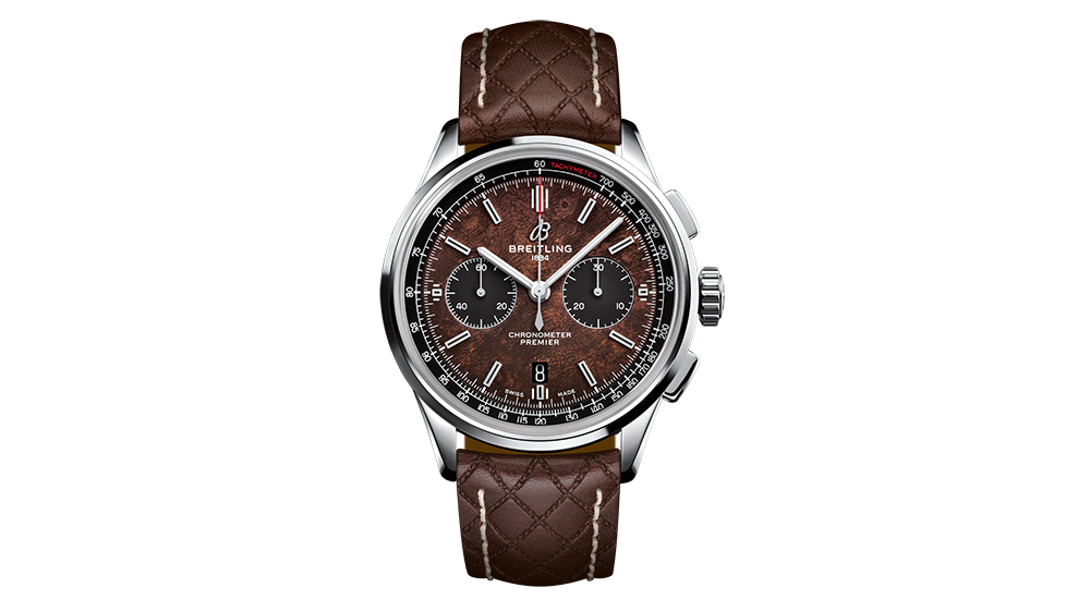The Breitling Premier Bentley Centenary Limited Edition in stainless steel with a leather strap.