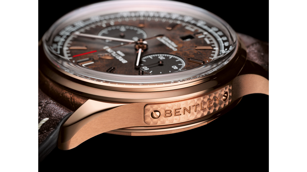A plaque on the case side with the Bentley logo graces the Breitling Premier Bentley Centenary Limited Edition.