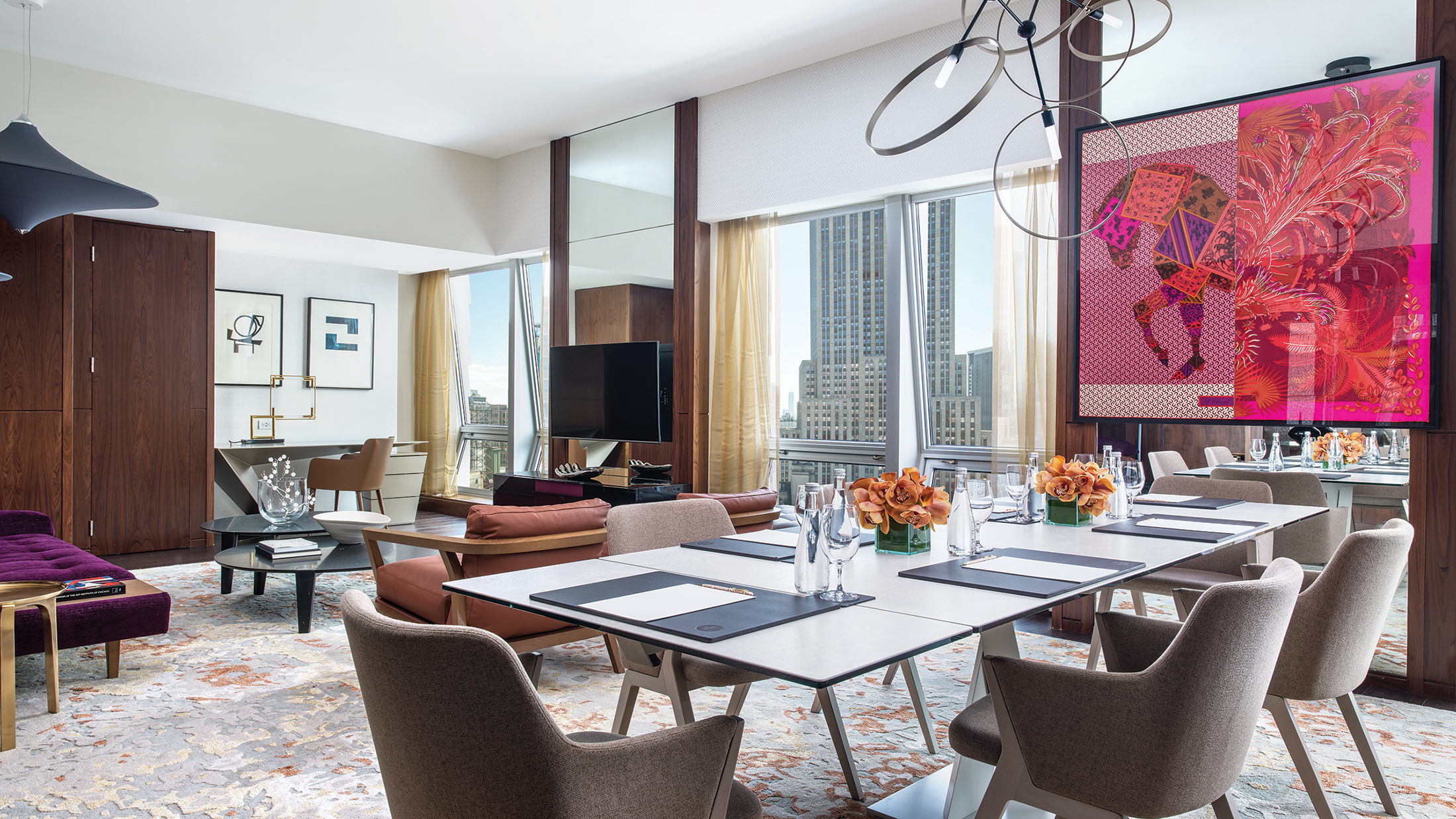 Guests of the Roche Bobois Presidential Suite at Langham Place in New York can order Michelin-starred room service from Ai Fiori.