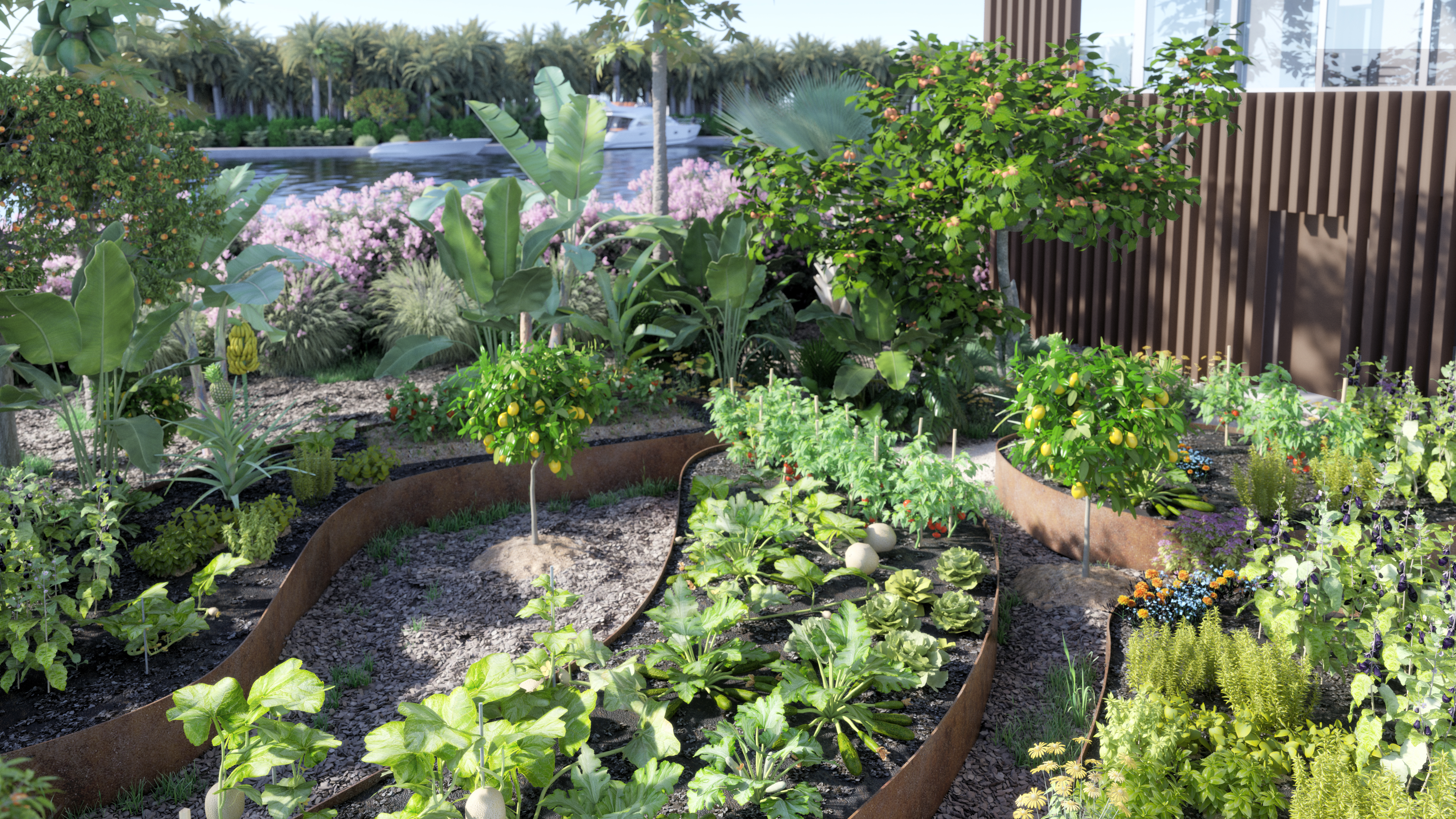 The ecological food and forest garden.