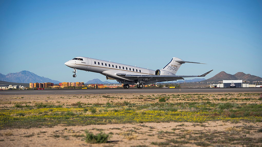 Bombardier Global 7500 lands in Tucson.