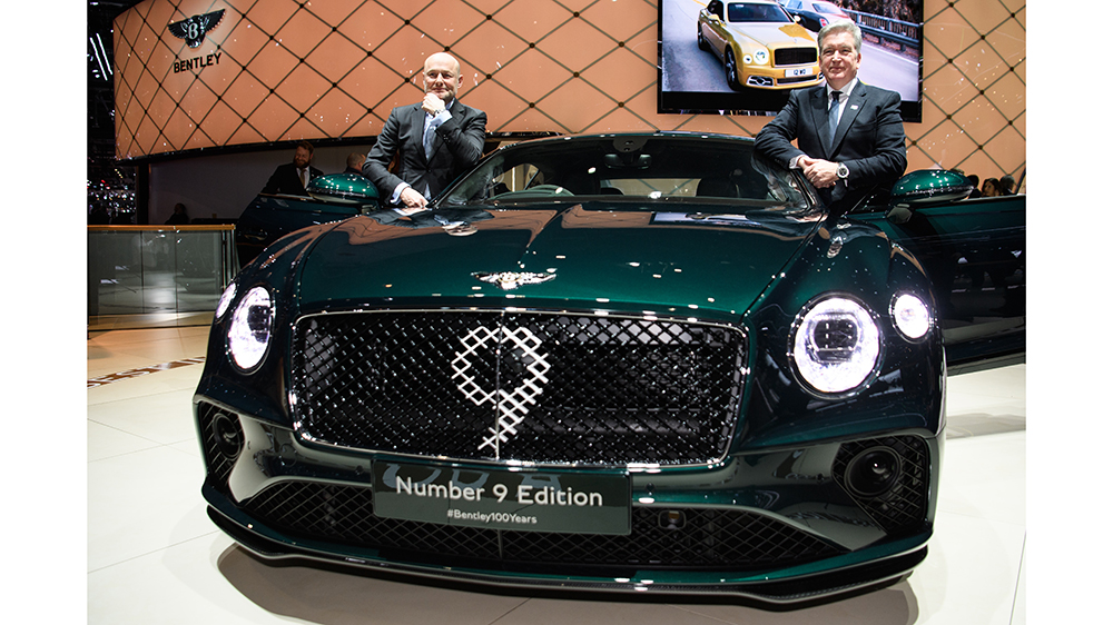 Breitling president and CEO Georges Kern and Bentley CEO Adrian Hallmark at the Geneva Motor Show.
