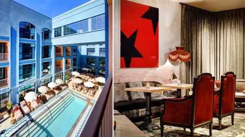 The rooftop pool and artists lounge at h Club
