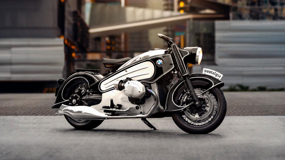 The NMoto Nostalgia motorcycle.
